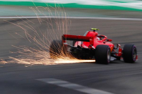 Sebastian Vettel, Ferrari SF71H, strikes up sparks.