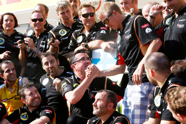 Hungaroring, Budapest, Hungary 28th July 2013 Kimi Raikkonen, Lotus F1, 2nd position, Eric Boullier, Team Principal, Lotus F1, and the Lotus F1 team celebrate World Copyright: Charles Coates/LAT Photographic ref: Digital Image _N7T4055