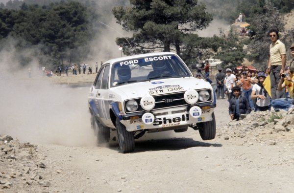 1977 World Rally Championship.Acropolis Rally, Greece. 28 May-3 June 1977.Bjorn Waldegaard/Hans Thorszelius (Ford Escort RS1800), 1st position.World Copyright: LAT PhotographicRef: 35mm transparency 77RALLY05