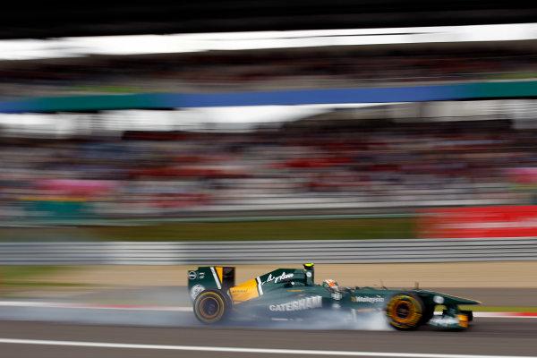 Nurburgring, Germany.22nd July 2011.Karun Chandhok, Lotus T128 Renault, locks his front wheels under braking. Action. World Copyright: Steven Tee/LAT Photographicref: Digital Image _A8C5208