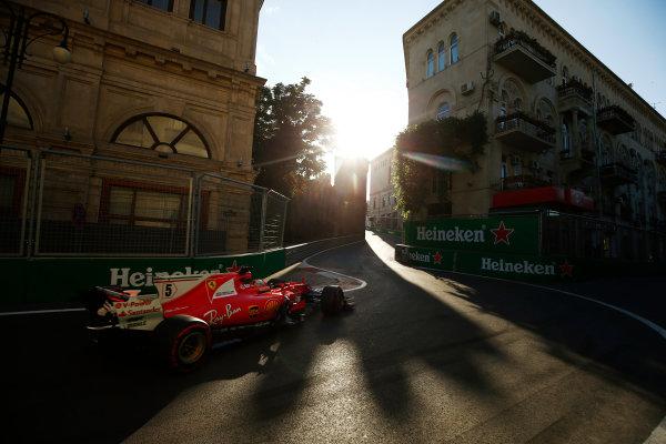 Baku City Circuit, Baku, Azerbaijan. Friday 23 June 2017. Sebastian Vettel, Ferrari SF70H.  World Copyright: Andy Hone/LAT Images ref: Digital Image _ONZ6350