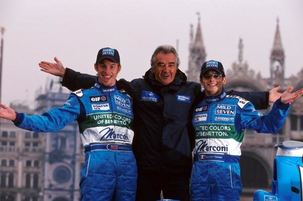 Team manager Flavio Briatore (Centre) with his drivers for the upcoming season, Jenson Button (GBR) (left) and Giancarlo Fisichella (ITA) (Right).