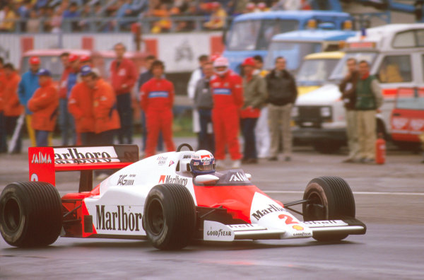Imola, Italy. 3-5 May 1985. Alain Prost (McLaren MP4/2B TAG Porsche) 1st position, but later disqualified due to the car being under weight at the finish. Ref-85 SM 10. World Copyright - LAT Photographic