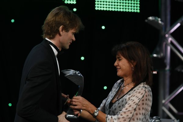 2007 Autosport AwardsGrosvenor House Hotel, Park Lane, London2nd December 2007.Marcus Gronholm accepts his award for International Rally Driver from Michelle Mouton.World Copyright: Glenn Dunbar/LAT Photographicref: Digtal Image _O9T6517