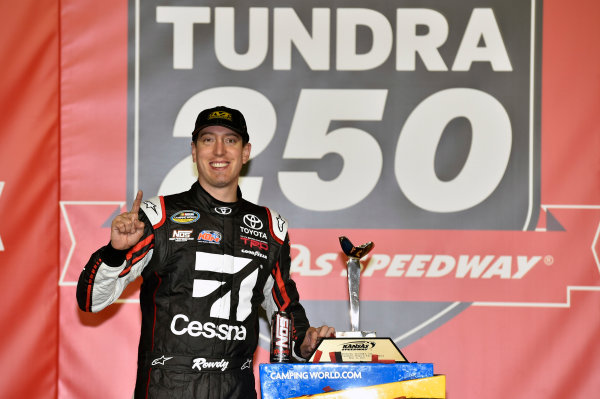NASCAR Camping World Truck Series Toyota Tundra 250 Kansas Speedway, Kansas City, KS USA Friday 12 May 2017 Kyle Busch, Cessna Toyota Tundra celebrates his win in Victory Lane World Copyright: Nigel Kinrade LAT Images ref: Digital Image 17KAN1nk07197