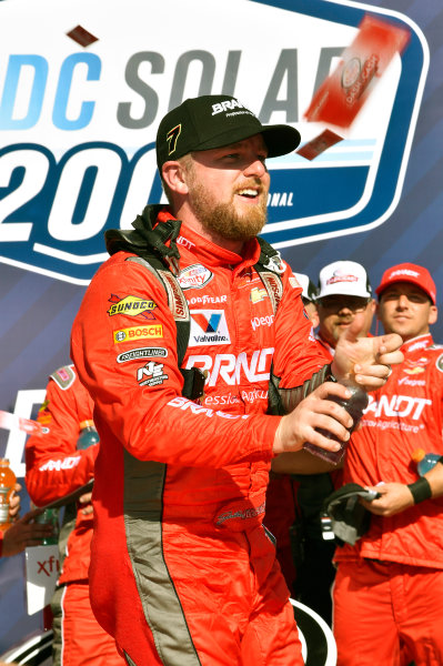 2017 NASCAR Xfinity Series DC Solar 200 Phoenix International Raceway, Avondale, AZ USA Saturday 18 March 2017 Justin Allgaier celebrates his win in Victory Lane World Copyright: Nigel Kinrade/LAT Images ref: Digital Image 17PHX1nk06444
