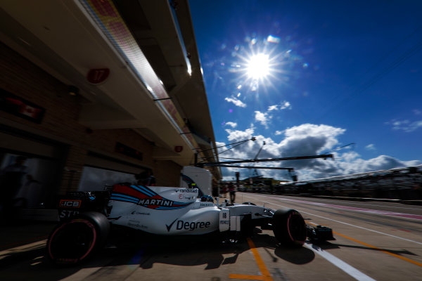 Circuit of the Americas, Austin, Texas, United States of America. Saturday 21 October 2017. Lance Stroll, Williams FW40 Mercedes, leaves the garage. World Copyright: Glenn Dunbar/LAT Images  ref: Digital Image _31I3367