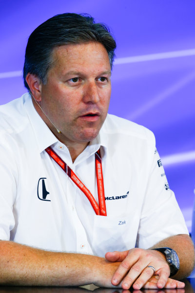 Spa Francorchamps, Belgium.  Friday 25 August 2017. Zak Brown, Executive Director, McLaren Technology Group, in the Team Principals Press Conference. World Copyright: Andy Hone/LAT Images  ref: Digital Image _ONZ9536