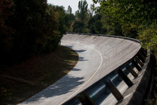 2017 FIA Formula 2 Round 9. Autodromo Nazionale di Monza, Monza, Italy. Thursday 31 August 2017. The old Monza banking. Photo: Zak Mauger/FIA Formula 2. ref: Digital Image _54I4884