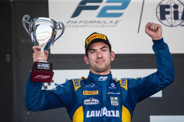 2017 FIA Formula 2 Round 10. Circuito de Jerez, Jerez, Spain. Sunday 8 October 2017. Nicholas Latifi (CAN, DAMS) on the podium. Photo: Andrew Ferraro/FIA Formula 2. ref: Digital Image _FER3711