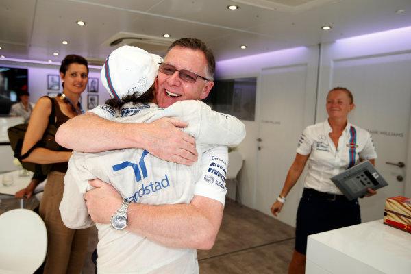 Autodromo Nazionale di Monza, Monza, Italy. Sunday 7 September 2014. Felipe Massa, Williams F1, 3rd Position, celebrates with Mike O' Driscoll, Group CEO, Williams F1. World Copyright: Glenn Dunbar/LAT Photographic. ref: Digital Image _W2Q0785