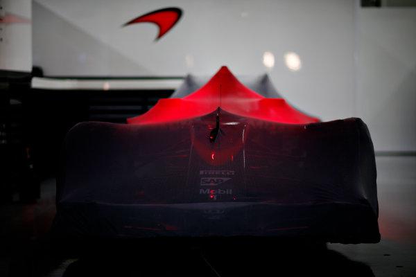Suzuka Circuit, Suzuka, Japan.  Saturday 26 September 2015. A McLaren MP4-30 Honda under Parc Ferme conditions. World Copyright: Alastair Staley/LAT Photographic ref: Digital Image _R6T1742