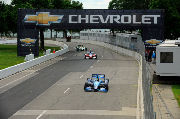 1-2 June, 2012, Detroit, Michigan, USARubens Barrichello (#8), James Jakes (#19) and Simona De Silvestro (#78) race onto the main straight.(c)2012, F. Peirce WilliamsLAT Photo USA
