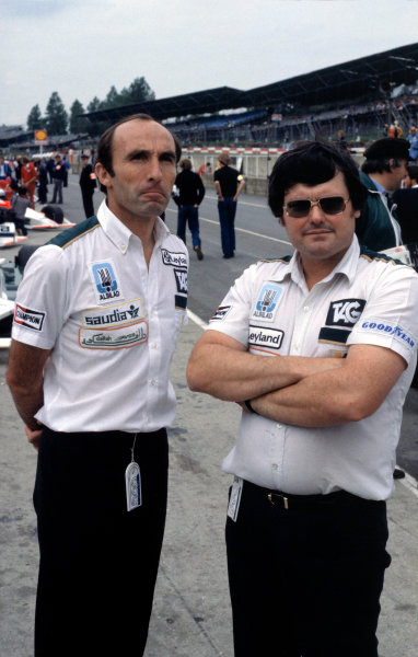 1980 British Grand Prix.Brands Hatch, Kent, Great Britain. 13 July 1980.Frank Williams and Patrick Head.World Copyright: LAT Photographicref: 35mm Transparency Image