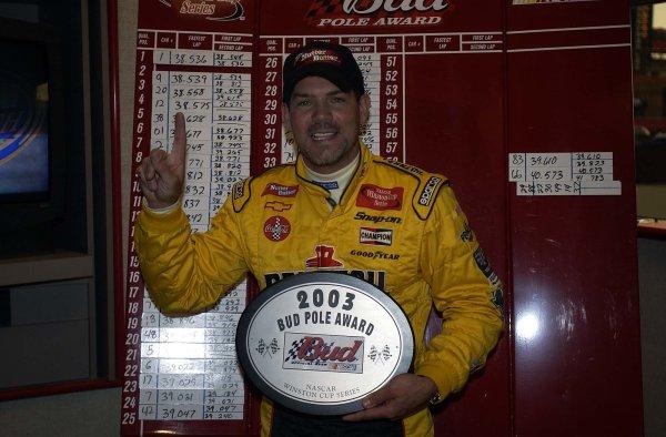 2003 NASCAR-California Speedway, April 25-27 2003 Steve Park posing at the pole podium,World Copyright -RobertLeSieur 2003LAT Photographic-ref: digital image