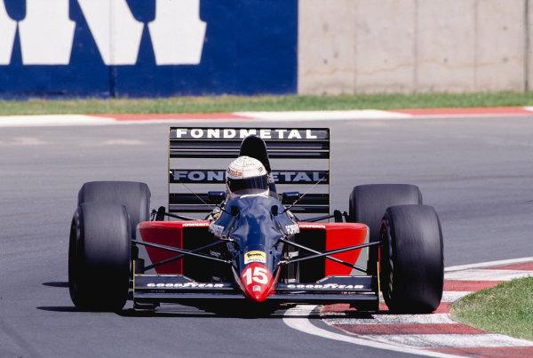 1992 South African Grand Prix.Kyalami, South Africa. 28/2-1/3 1992.Gabriele Tarquini (Fondmetal GR01 Ford).Ref-92 SA 24.World Copyright - LAT Photographic