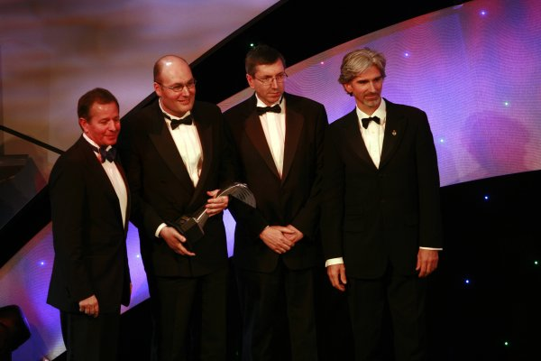 2006 Autosport AwardsGrosvenor House Hotel, London. 3rd December 2006.Dino Toso and Tim Densham accept the International Racing Car award for the R26.World Copyright: Malcolm Griffiths/LAT Photographicref: Digital Image _MG_2695
