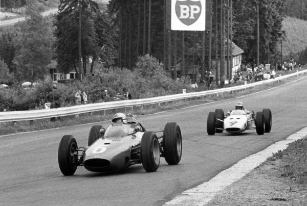 1964 Belgian Grand Prix.Spa-Francorchamps, Belgium. 14 June 1964.Giancarlo Baghetti, BRM P57, 8th position, leads Trevor Taylor, BRP 2-BRM, 7th position, action.World Copyright: LAT Photographic