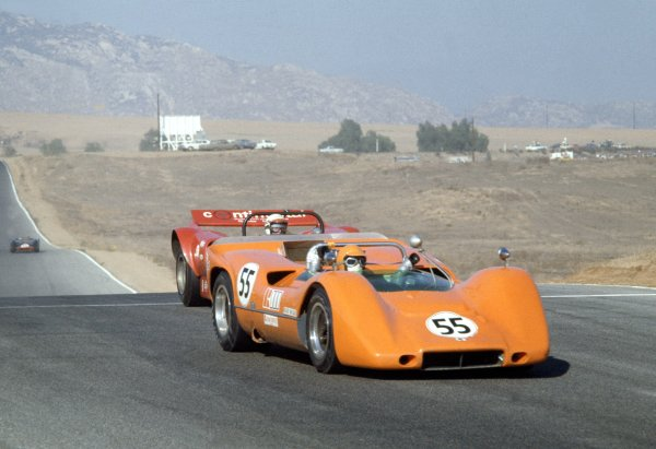 1968 Can-Am Challenge Cup.CanAm race. Riverside, California, United States (USA). 27 October 1968.Roger McCaig (McLaren M6B Chevrolet), retired, action.World Copyright: LAT PhotographicRef: 35mm transparency