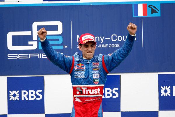 Magny-Cours, France. 22nd June.Sunday Race. Sebastien Buemi (SUI, Trust Team Arden) celebrates his victory on the podium. World Copyright: Andrew Ferraro/GP2 Series Media Service.ref: Digital Image _H0Y8047