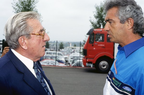 1987 French Grand Prix.Paul Ricard, Le Castellet, France.3-5 July 1987.Jean-Marie Balestre talks to Flavio Briatore, portrait.World Copyright - LAT Photographic