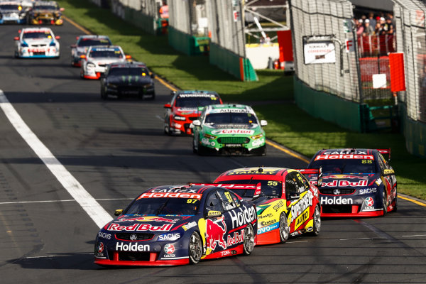 Australian Supercars Series Albert Park, Melbourne, Australia. Friday 24 March 2017. Race 2. Shane van Gisbergen, No.97 Holden Commodore VF, Red Bull Holden Racing Team, leads Chaz Mostert, No.55 Ford Falcon FG-X, Supercheap Auto Racing, and Jamie Whincup, No.88 Holden Commodore VF, Red Bull Holden Racing Team. World Copyright: Zak Mauger/LAT Images ref: Digital Image _56I5891