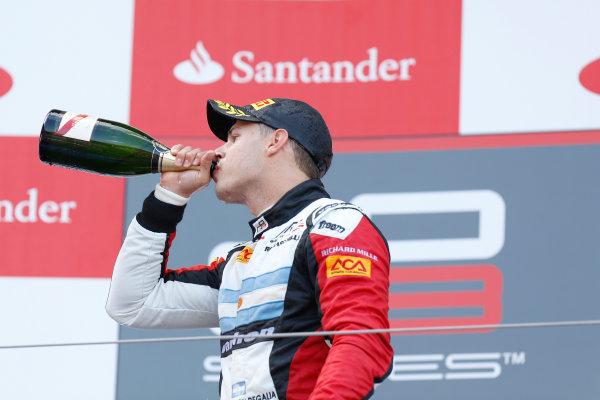 2013 GP3 Series. Round 4.  Nurburgring, Germany.  6th July 2013.  Saturday Race. Facu Regalia (ARG, ART Grand Prix) celebrates his victory on the podium.  World Copyright: Alastair Staley/GP2 Series Media Service. Ref: _R6T7316