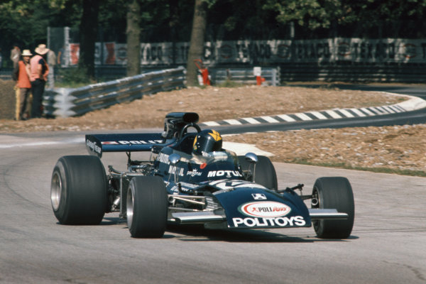 1972 Italian Grand Prix.  Monza, Italy. 8-10th September 1972.  Carlos Pace, March 711 Ford, with oversteer exiting Ascari.  Ref: 72ITA17. World Copyright: LAT Photographic