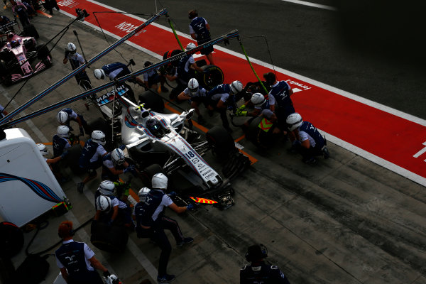 Autodromo Nazionale di Monza, Italy. Friday 1 September 2017. Lance Stroll, Williams FW40 Mercedes, in the pits. World Copyright: Andrew Hone/LAT Images  ref: Digital Image _ONZ1724