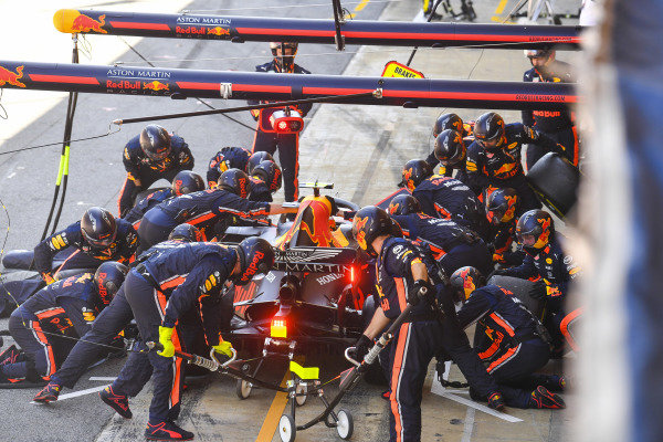 Pierre Gasly, Red Bull Racing RB15, in the pits
