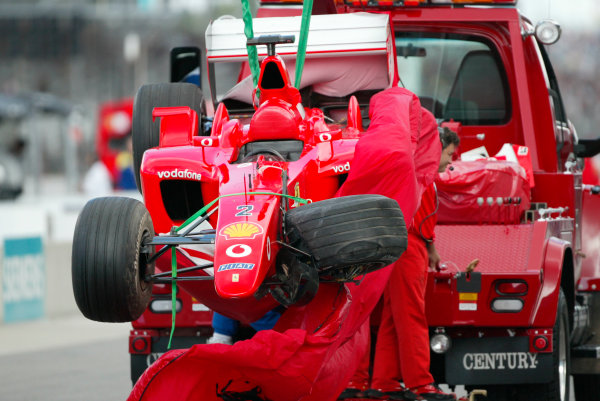 2002 American Grand Prix - Friday PracticeIndianapolis, USA. 27th September 2002Rubens Barrichello's crashed Ferrari.World Copyright - LAT Photographicref: Digital File Only