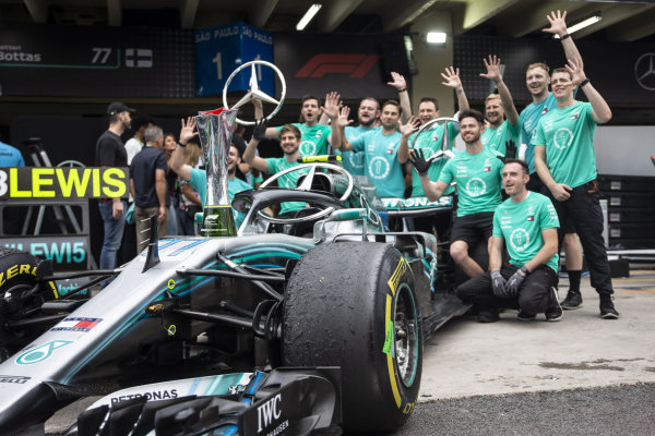 Mercedes-AMG F1 celebrate clinching the Constructors Championship with the trophy