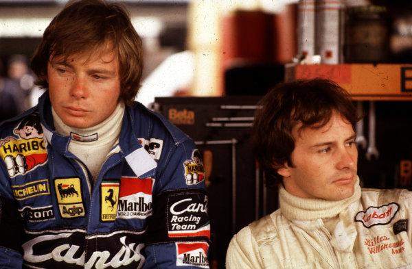 Formula 1 World Championship.Ferrari team mates Didier Pironi and Gilles Villeneuve.Ref-V2A 07.World - LAT Photographic