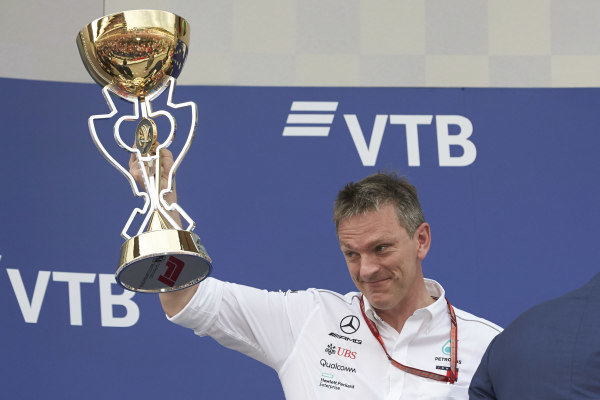James Allison, Technical Director, Mercedes AMG, with the trophy on the podium