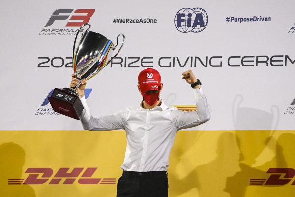 F2 Championship 1st position Mick Schumacher (DEU, PREMA RACING) celebrates on the podium with the trophy