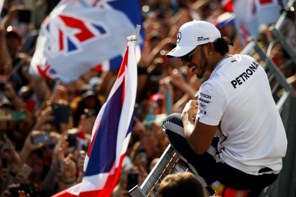 Lewis Hamilton, Mercedes AMG F1, 1st position, celebrates with the fans