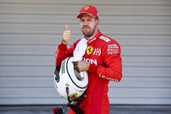 Pole Sitter Sebastian Vettel, Ferrari in Parc Ferme