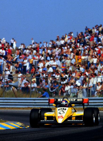 1984 Dutch Grand Prix.Zandvoort, Holland.24-26 August 1984.Patrick Tambay (Renault RE50) 6th position.World Copyright - LAT Photographic