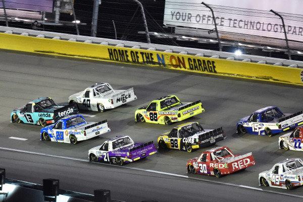 #13: Johnny Sauter, ThorSport Racing, Ford F-150 Tenda, #23: Brett Moffitt, GMS Racing, Chevrolet Silverado Allegiant and #40: Ross Chastain, Niece Motorsports, Chevrolet Silverado Niece