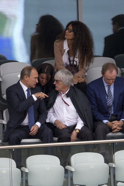 Vladimir Putin (RUS) President of Russia with Bernie Ecclestone (GBR) CEO Formula One Group (FOM) at Formula One World Championship, Rd15, Russian Grand Prix, Race, Sochi Autodrom, Sochi, Krasnodar Krai, Russia, Sunday 11 October 2015. BEST IMAGE
