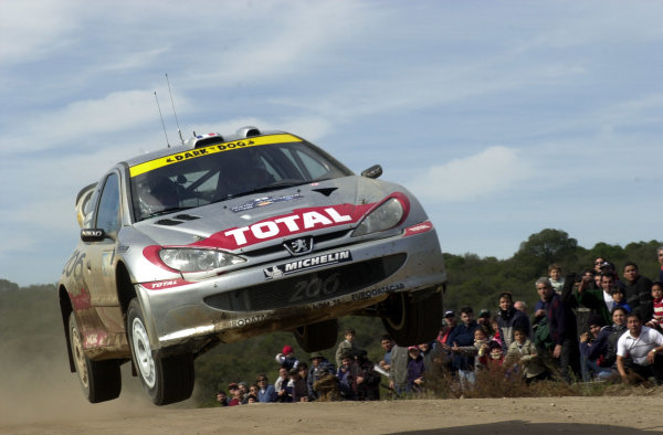 2001 World Rally Championship. ArgentinaMay 3rd-6th, 2001Didier Auriol jumps on stage 13.Photo: Ralph Hardwick/LAT