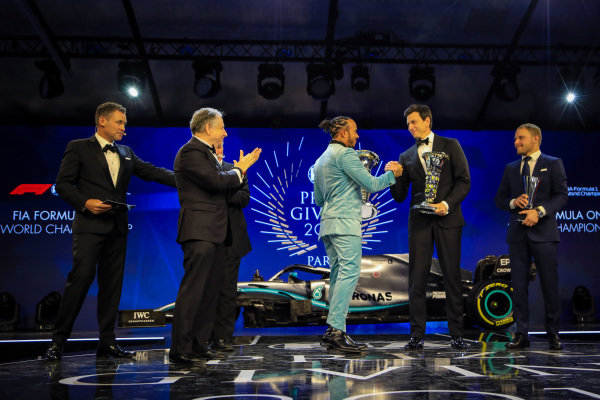 Tom Kristensen, Jean Todt, President, FIA, Lewis Hamilton, Mercedes AMG F1, Toto Wolff, Executive Director (Business), Mercedes AMG, and Valtteri Bottas, Mercedes AMG F1, on stage