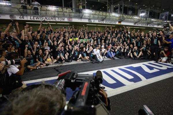 The Mercedes team celebrates.