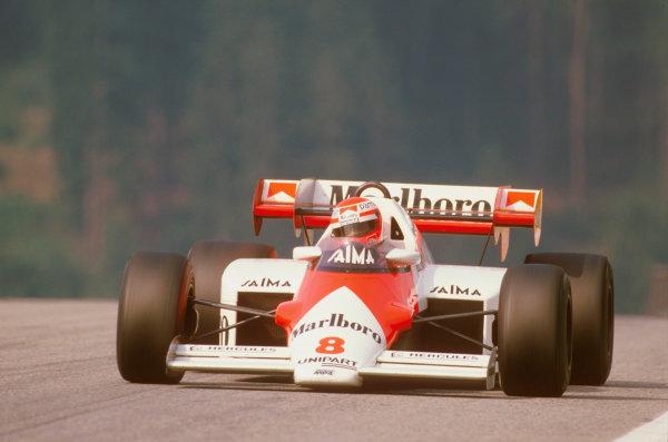Osterreichring, Zeltweg, Austria.17-19 August 1984.Niki Lauda (McLaren MP4\2 TAG Porsche) 1st position.Ref-84 AUT 02.World Copyright - LAT Photographic