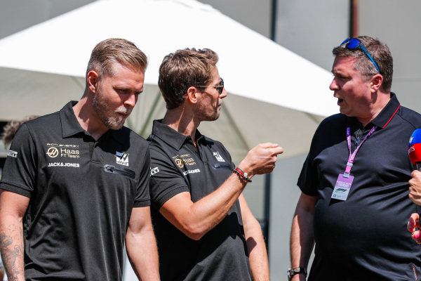 Romain Grosjean, Haas F1, and Kevin Magnussen, Haas F1 talk to Ted Kravitz