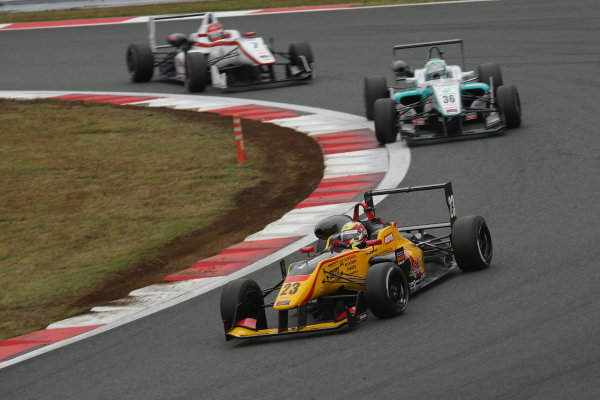 2014 All-Japan F3 Championship. Fuji, Japan. 11th - 12th October 2014. Rd 7. Winner Daiki Sasaki ( #23 B-MAX Racing Team with NDDP ) 2nd position Kenta Yamashita ( #36 PETRONAS TEAM TOM'S ) 3rd position Nobuharu Matsushita ( #7 HFDP RACING ) action World Copyright: Yasushi Ishihara / LAT Photographic. Ref:  2014_JF3_Rd14&15__003.JPG