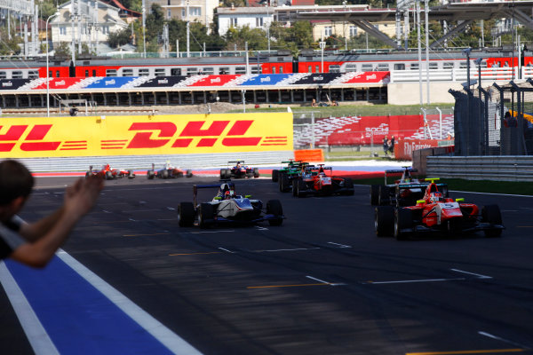 2014 GP3 Series. Round 8.   Sochi Autodrom, Sochi, Russia. Sunday Race 2 Sunday 12 October 2014. Patric Niederhauser (SUI, Arden International) wins the race from Dean Stoneman (GBR, Koiranen GP). Photo: Sam Bloxham/GP3 Series Media Service. ref: Digital Image _G7C7619