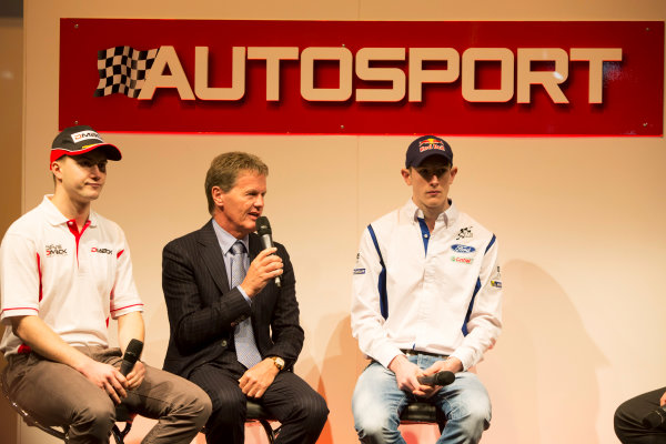 Autosport International Exhibition. National Exhibition Centre, Birmingham, UK. Thursday 8 January 2015. Malcolm Wilson, Elfyn Evans and Sander Pam on the Autosport stage. World Copyright: Malcolm Griffiths/LAT Photographic. ref: Digital Image A50A0449