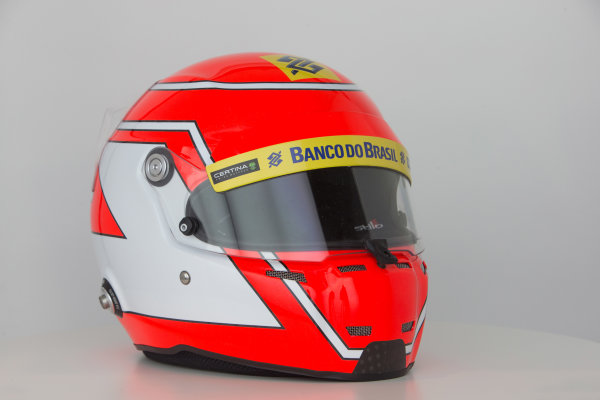 Hinwil, Switzerland. Thursday 29 January 2015. Helmet of Felipe Nasr, Sauber.  World Copyright: Sauber F1 Team (Copyright Free FOR EDITORIAL USE ONLY) ref: Digital Image 2015_SAUBER_HELMET_03