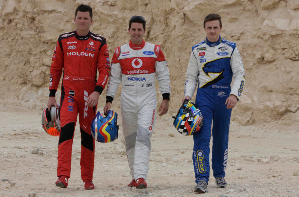Garth Tander , Mark Winterbottom and Jamie Whincup during the Gulf Air Desert 400, Round 12 of the Australian V8 Supercar Championship Series at the Bahrain International Circuit, Manama, , November 05, 2008.